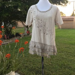 Sacred Threads Short Sleeve Embroidered Blouse S